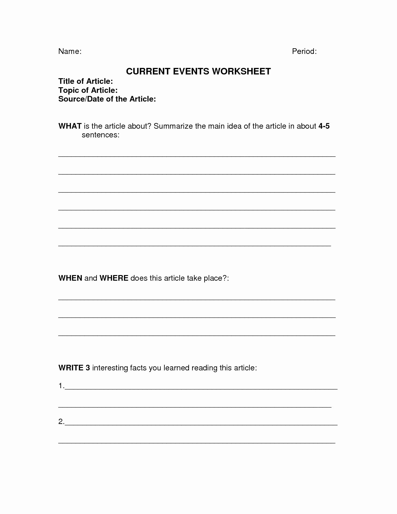 Current events Worksheet Middle School Inspirational Biology Current events Worksheet Printable