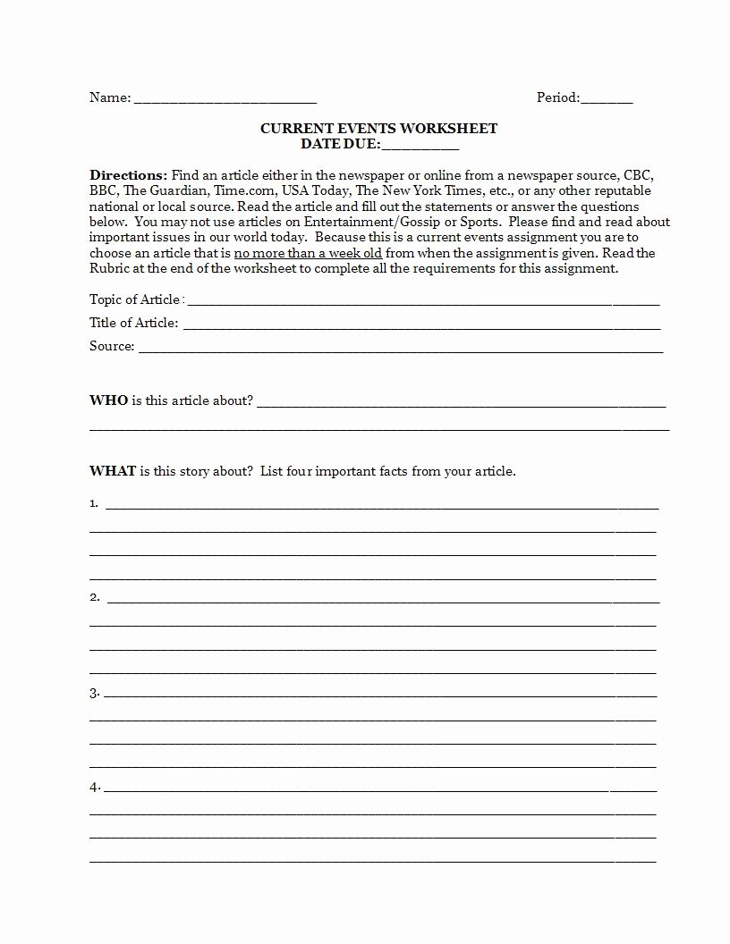 Current events Worksheet Middle School Kids Current events Worksheet Answers Promotiontablecovers