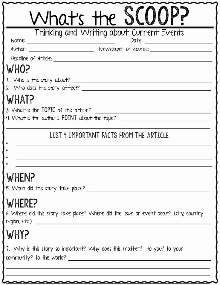 Current events Worksheet Middle School Lovely Current event Newspaper assignment What S the Scoop