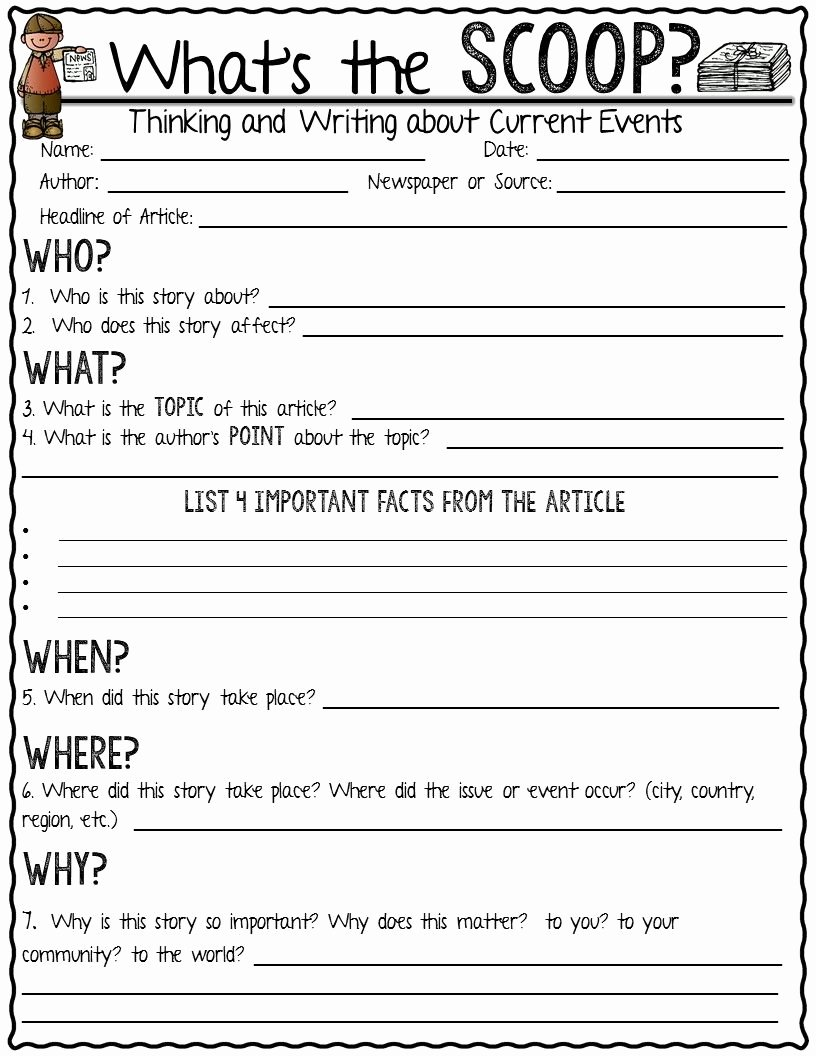 Current events Worksheet Middle School Printable Current event Newspaper assignment What S the Scoop