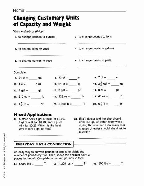 Customary Units Of Capacity Worksheet Best Of Changing Customary Units Of Capacity and Weight Worksheet