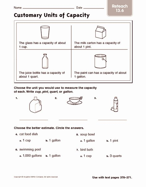 Customary Units Of Capacity Worksheet Best Of Customary Units Of Capacity Reteach Worksheet for 2nd 3rd