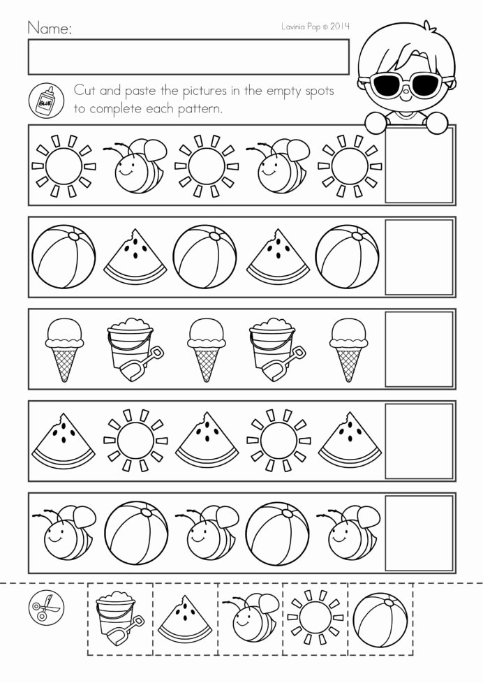 Cut and Paste Worksheets Free New Summer Review Kindergarten Math Literacy Worksheets