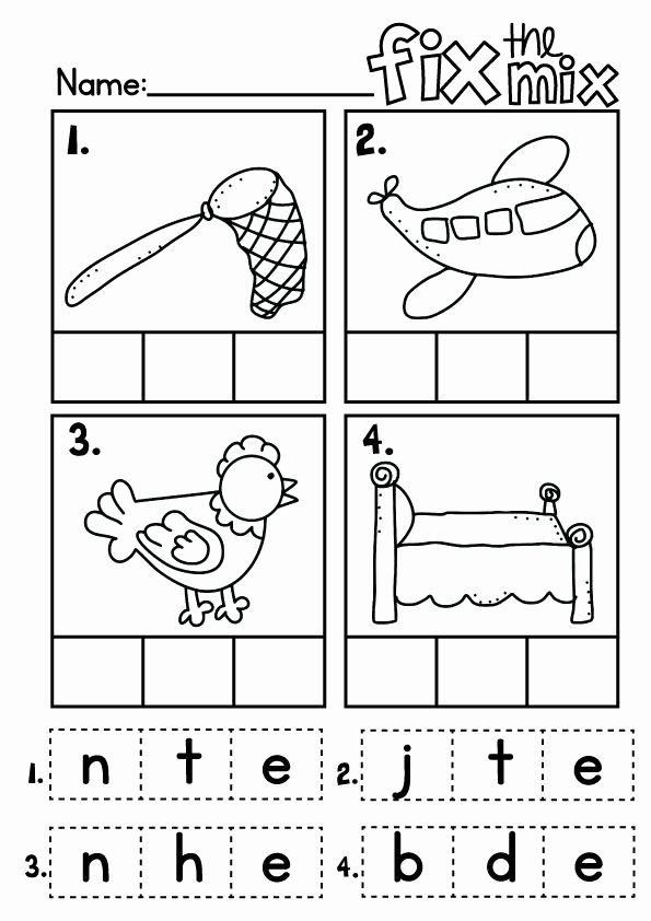 Cut and Paste Worksheets Kindergarten Best Of Free Cvc Words Cut and Paste Worksheets Worksheets Simple