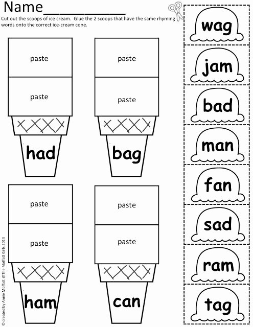 Cvc Cut and Paste Worksheets Free Cvc Scoops