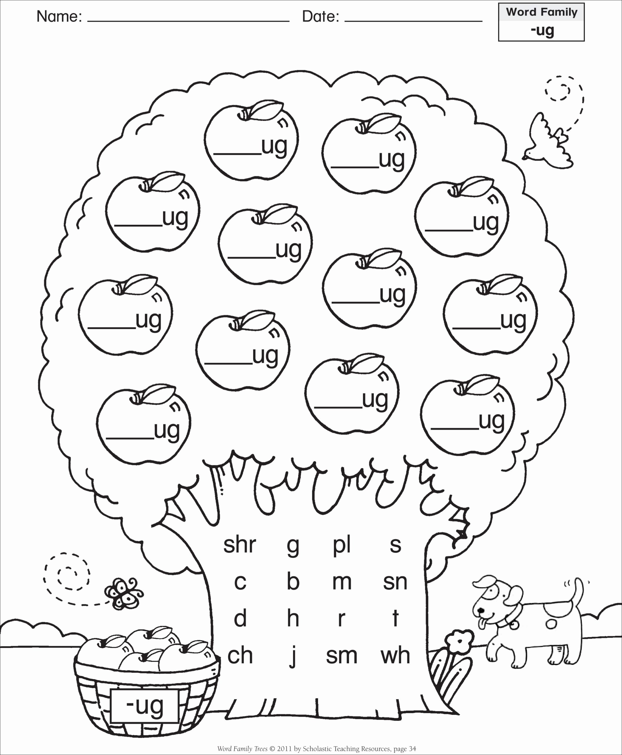 Cvc Cut and Paste Worksheets Inspirational Short Vowel Ug Word Family Tree Families Reading Free Cvc