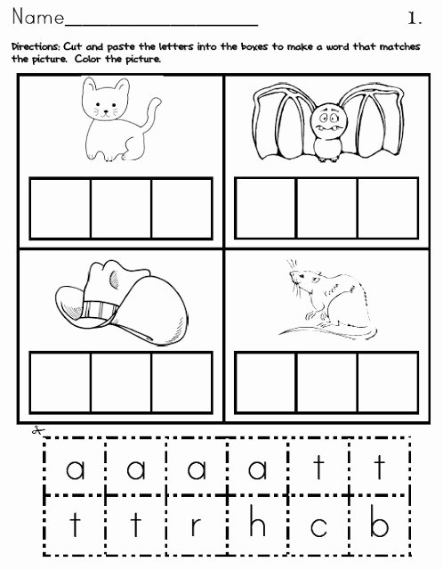 Cvc Cut and Paste Worksheets Lovely Cvc Packet
