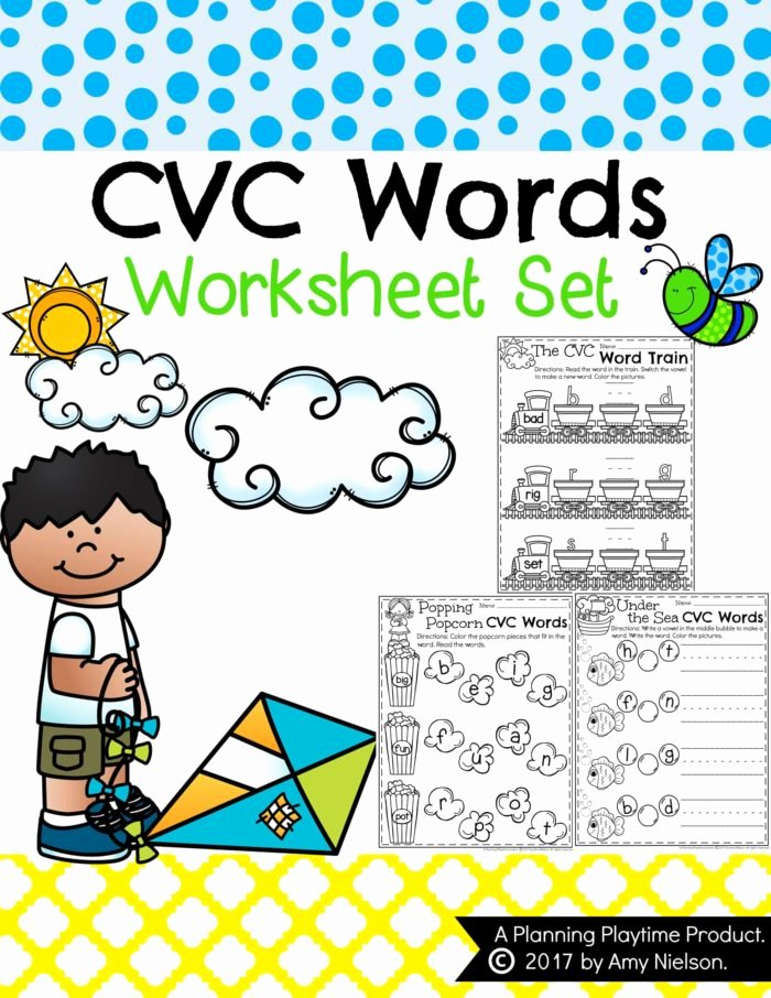 Cvc Words for Kindergarten Worksheets Inspirational Cvc Words Worksheets for Kindergarten Planning Playtime