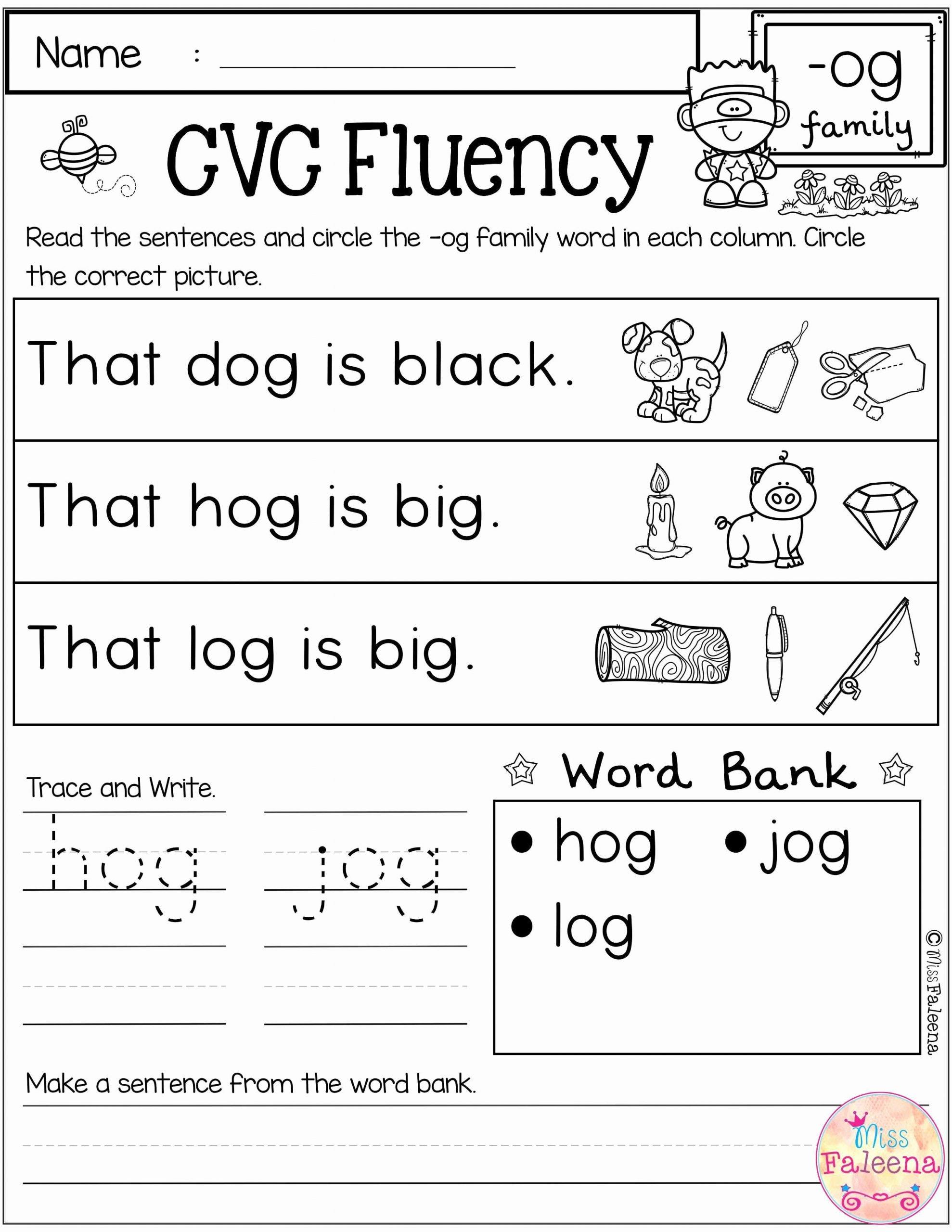 Cvc Worksheets for First Grade Best Of Free Cvc Fluency