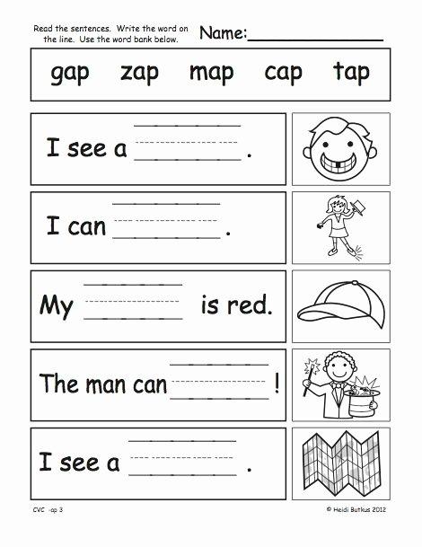 Cvc Worksheets for First Grade Lovely Cvc Word Family Workbook