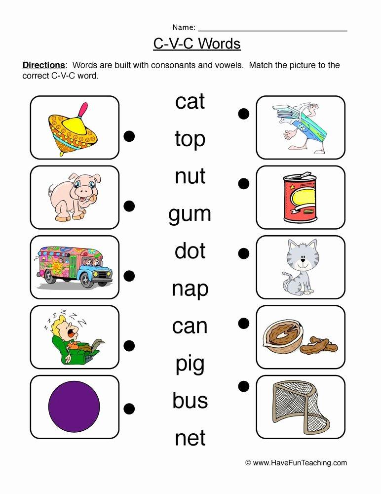Cvc Worksheets for First Grade New Matching Cvc Worksheet
