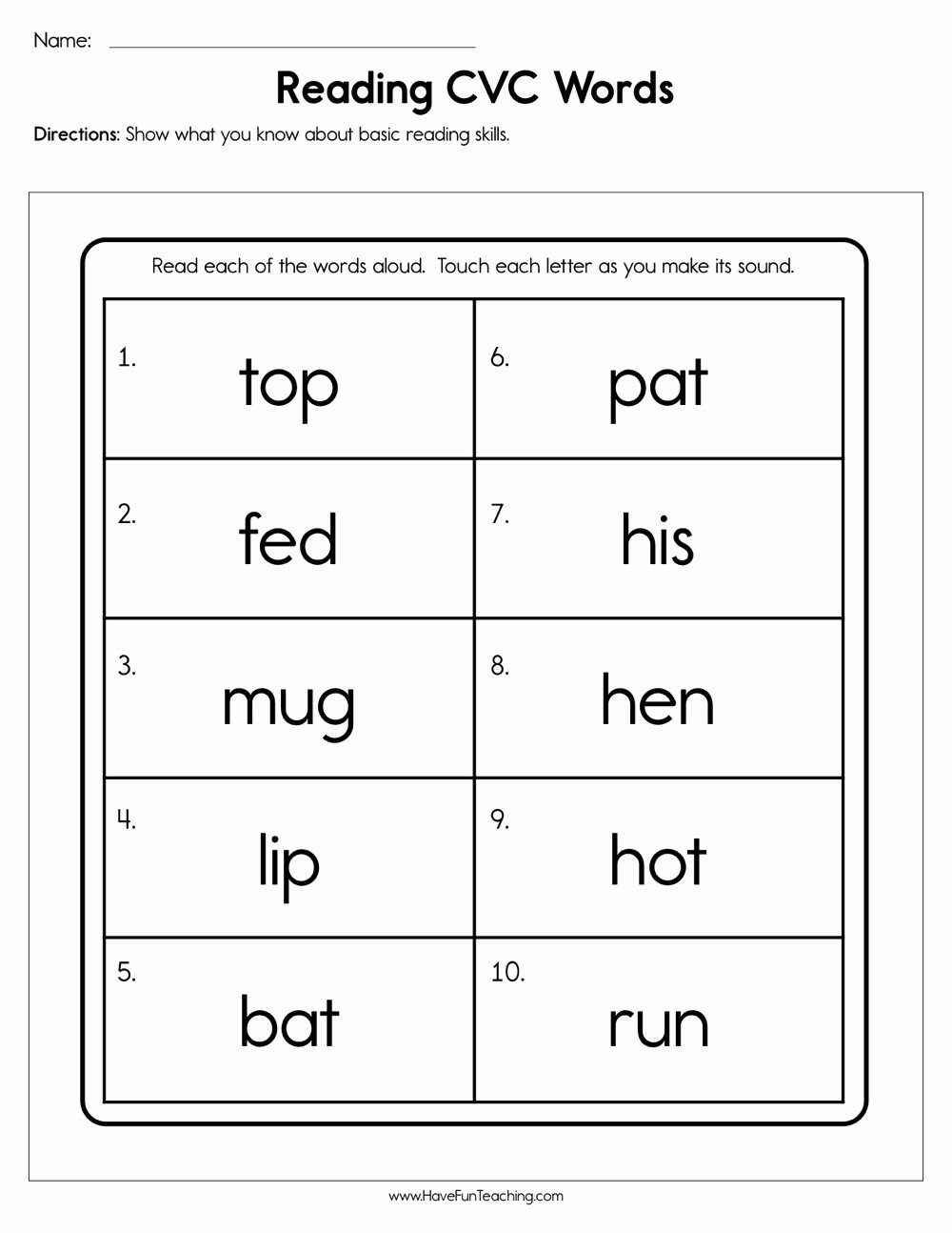 Cvc Worksheets for First Grade Printable Reading Cvc Words Worksheet