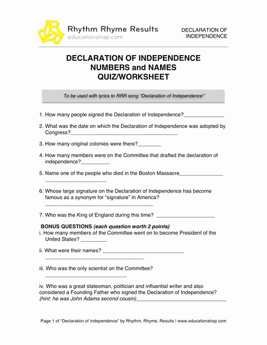 Declaration Of Independence Worksheet Answers Printable Declaration Of Independence song with Free Worksheets and