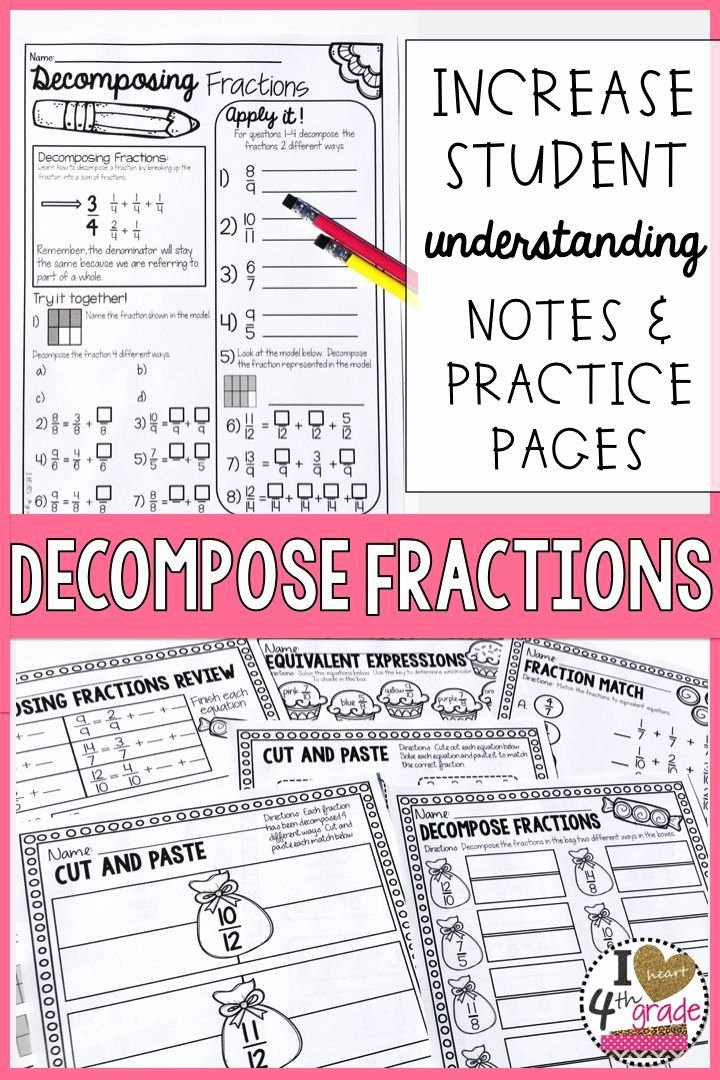 Decomposing Fractions 4th Grade Worksheet Fresh De Pose Fractions Ccss 4 Nf B 3b