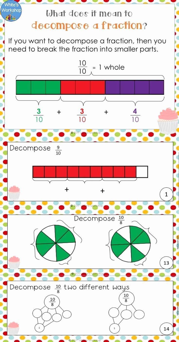 Decomposing Fractions 4th Grade Worksheet Kids De Posing Fractions Worksheets and Task Cards