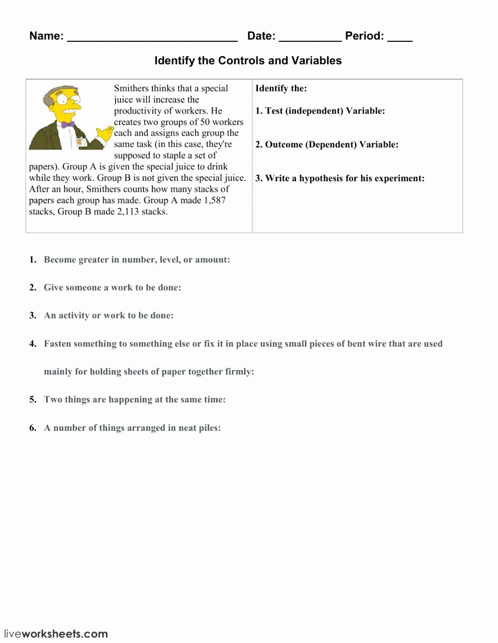 Dependent and Independent Variables Worksheet Free Independent and Dependent Variables 3 Interactive Worksheet
