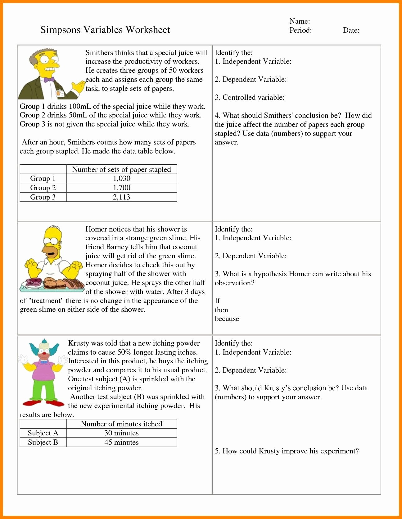 Dependent and Independent Variables Worksheet Printable Dependent and Independent Variables Worksheet 6th Grade