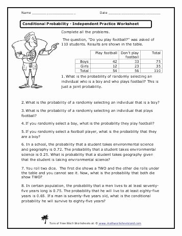 Dependent Probability Worksheet with Answers Free Conditional Probability Independent Practice Worksheet