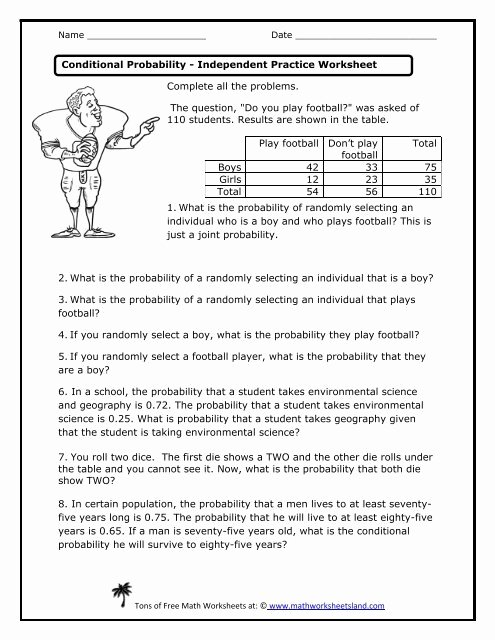 conditional probability independent practice worksheet math worksheets science simple