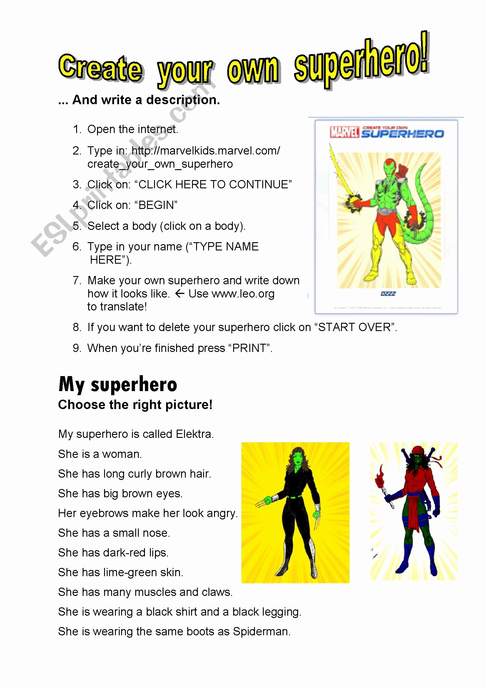 Design Your Own Superhero Worksheet Best Of Create Your Own Superhero Key Esl Worksheet by Dietze
