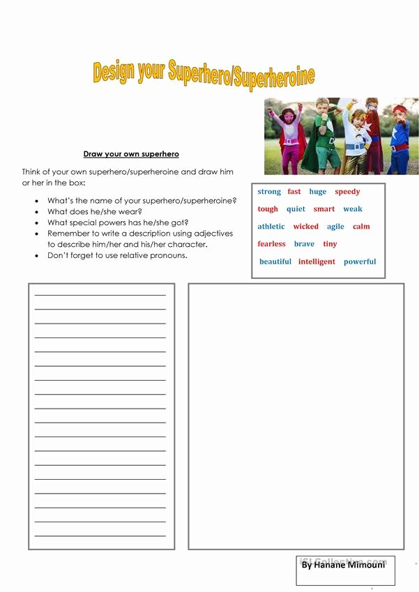 Design Your Own Superhero Worksheet Best Of Draw Your Superhero Super E English Esl Worksheets