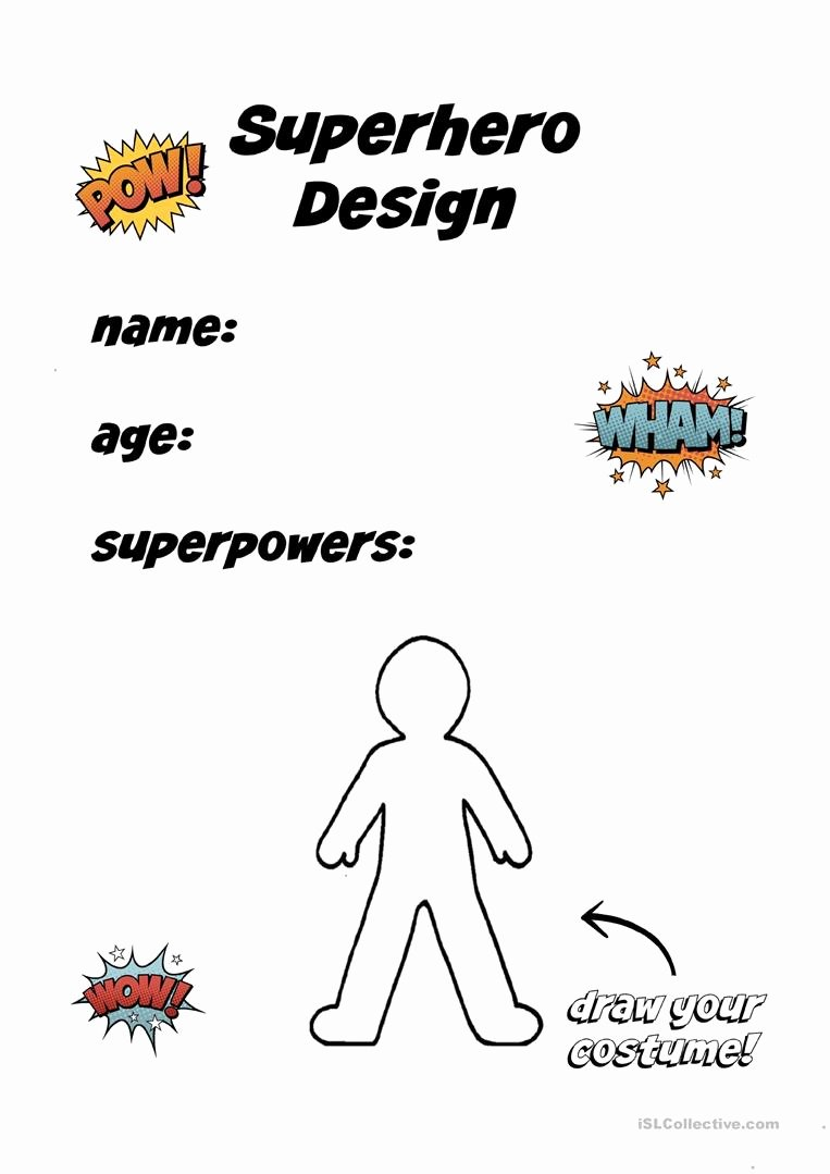 Design Your Own Superhero Worksheet Free Create A Superhero English Esl Worksheets for Distance