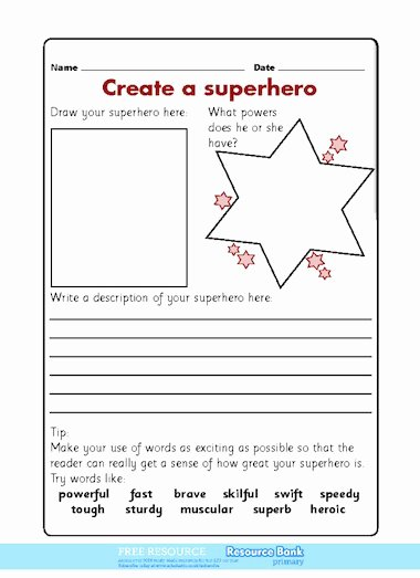 Design Your Own Superhero Worksheet Ideas Create A Superhero – Free Primary Ks1 Teaching Resource