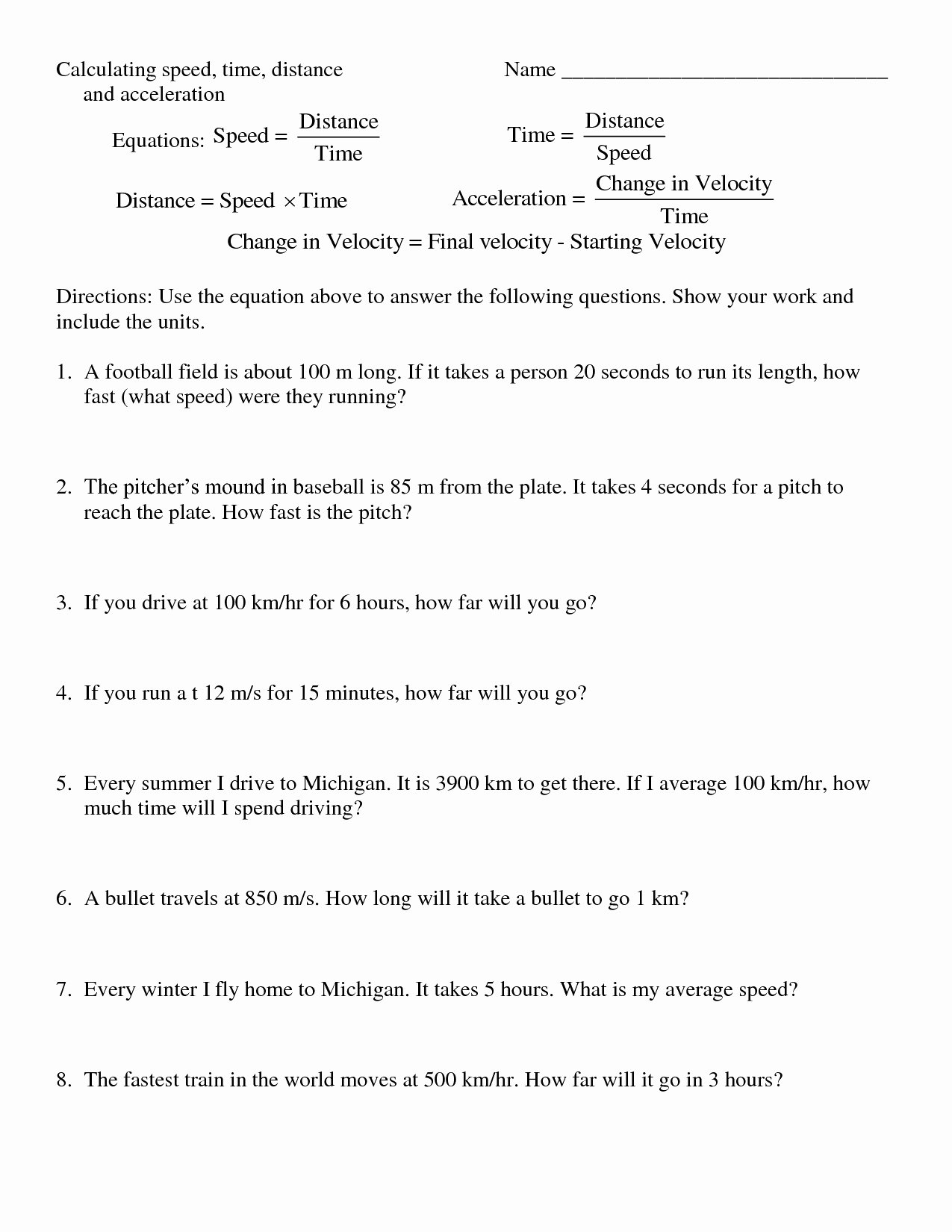 Determining Speed Velocity Worksheet Answers Fresh Determining Speed and Velocity Worksheet