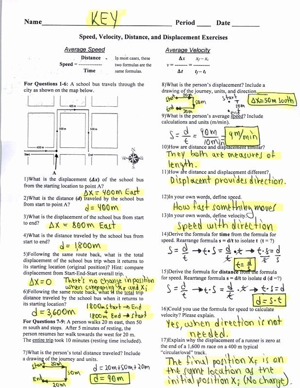 Determining Speed Velocity Worksheet Answers Inspirational Determining Speed Velocity Worksheet Answers Unique