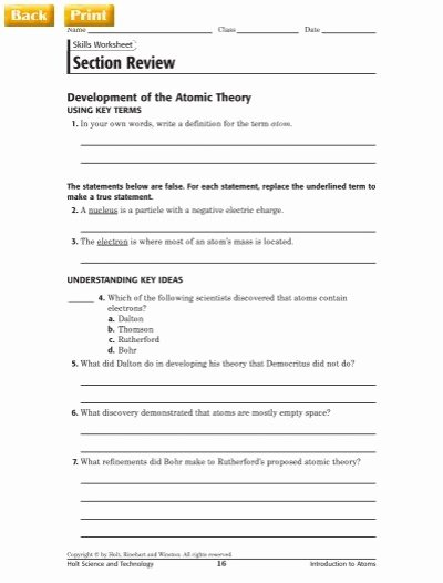 Development Of atomic theory Worksheet Best Of Section Review