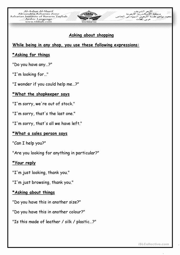 Dialogue Worksheets for Middle School Fresh Shopping Dialogue