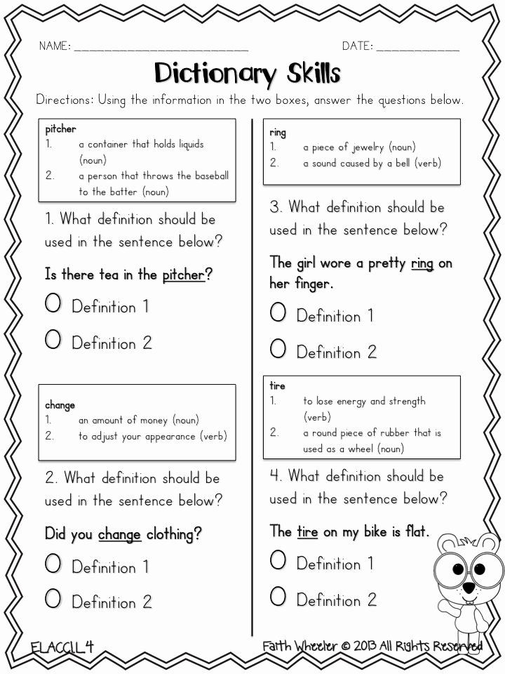 Dictionary Skill Worksheets 3rd Grade Kids Dictionary Skills Freebie I Could Use Vocab Words From the