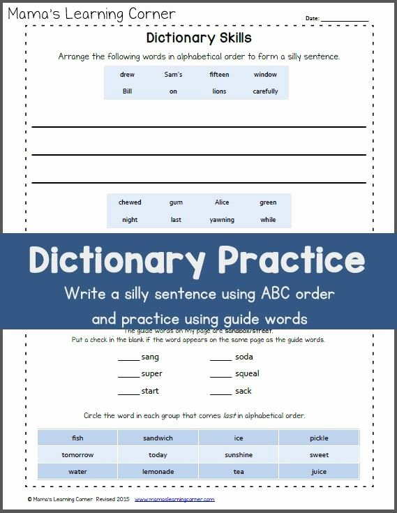 Dictionary Skills Worksheets Middle School Best Of Dictionary Practice Skills Packet