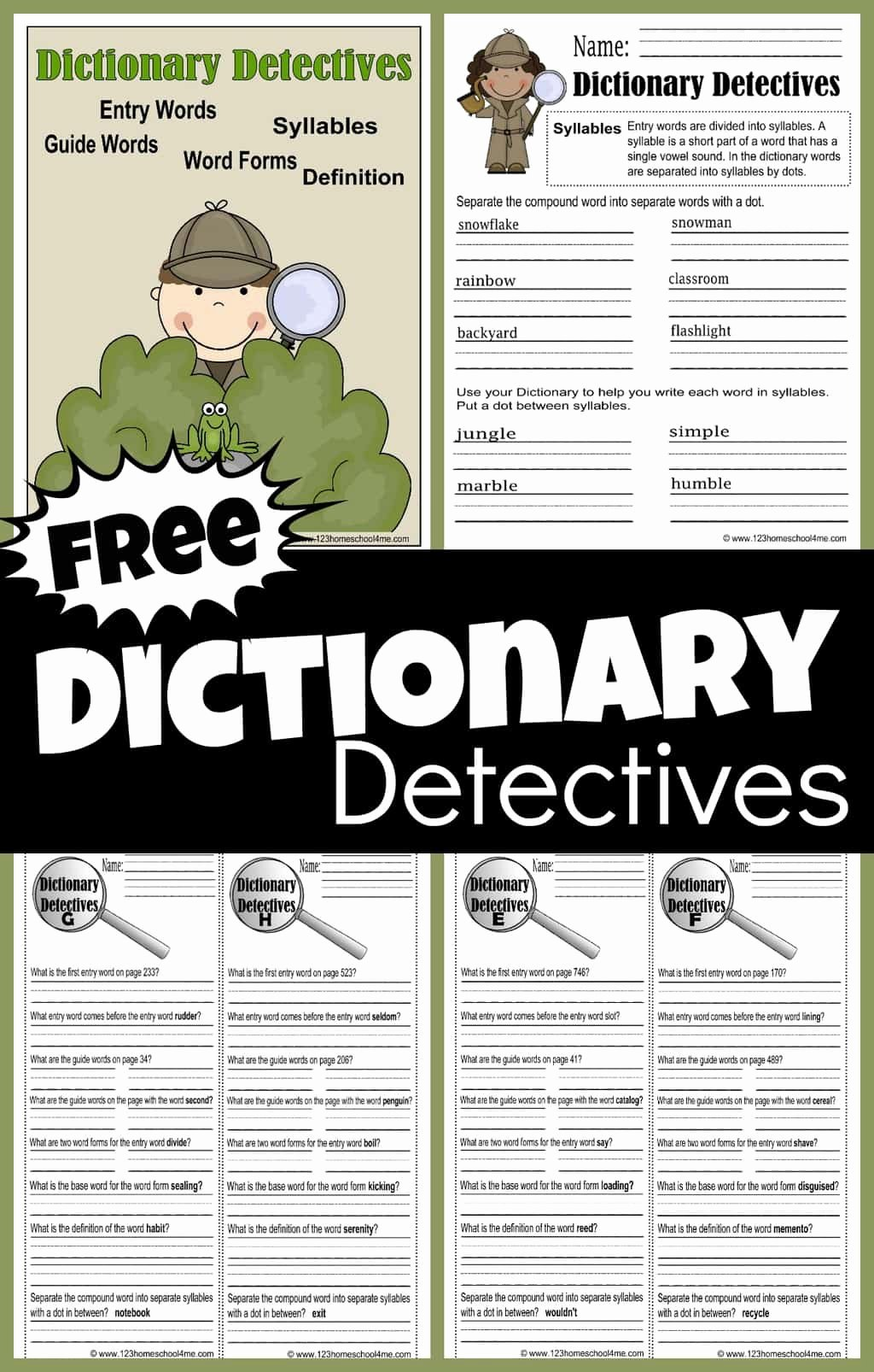 Dictionary Skills Worksheets Middle School Inspirational Free Dictionary Detective Worksheets for Kids