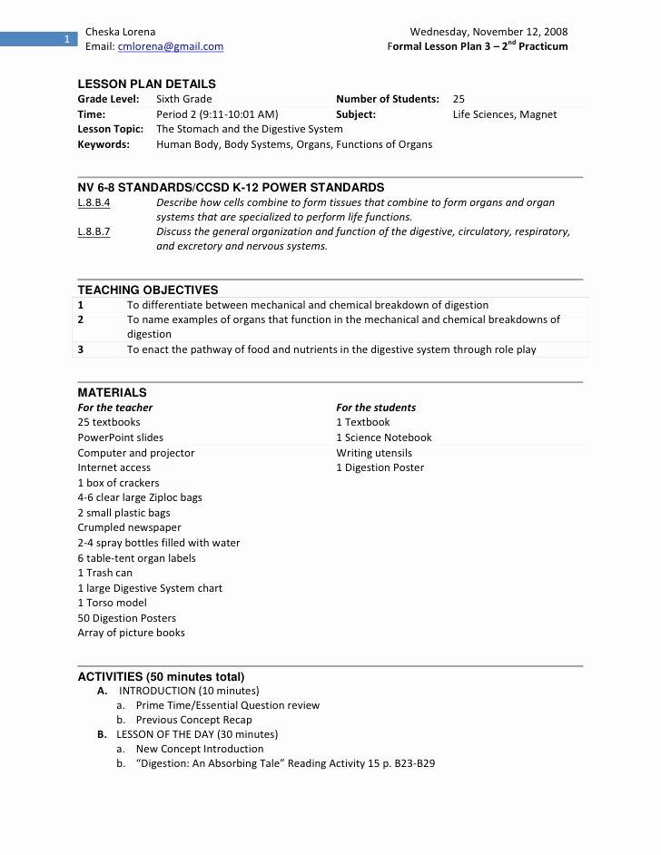 Digestive System Worksheets Middle School Fresh Practicum 2 Lesson Plan On Digestive System