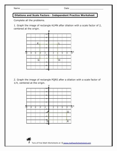 Dilations and Scale Factor Worksheet Inspirational Dilations and Scale Factors Independent Practice Worksheet