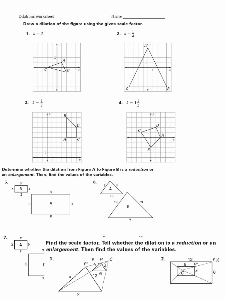 Dilations and Scale Factor Worksheet Inspirational Dilations Ws 2