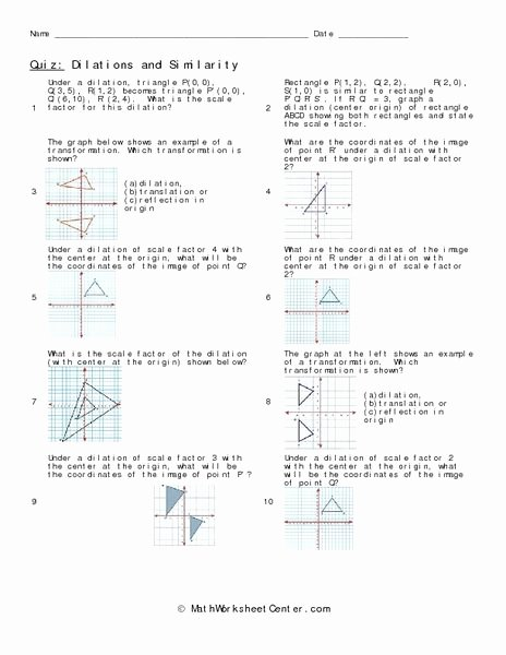 Dilations and Scale Factor Worksheet Kids Dilations and Similarity Worksheet for 8th 10th Grade