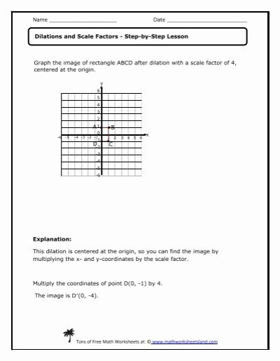 Dilations and Scale Factor Worksheet Printable Dilations and Scale Factors Lesson Math Worksheets Land