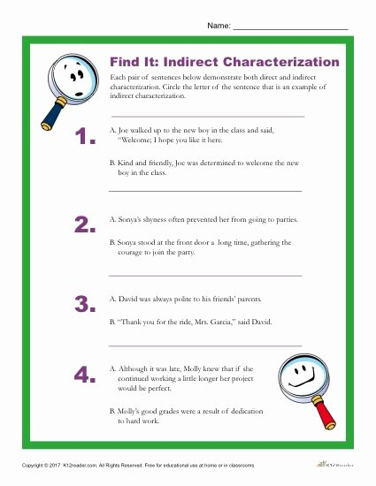 Direct and Indirect Characterization Worksheet Lovely which Sentence is An Example Of Indirect Characterization