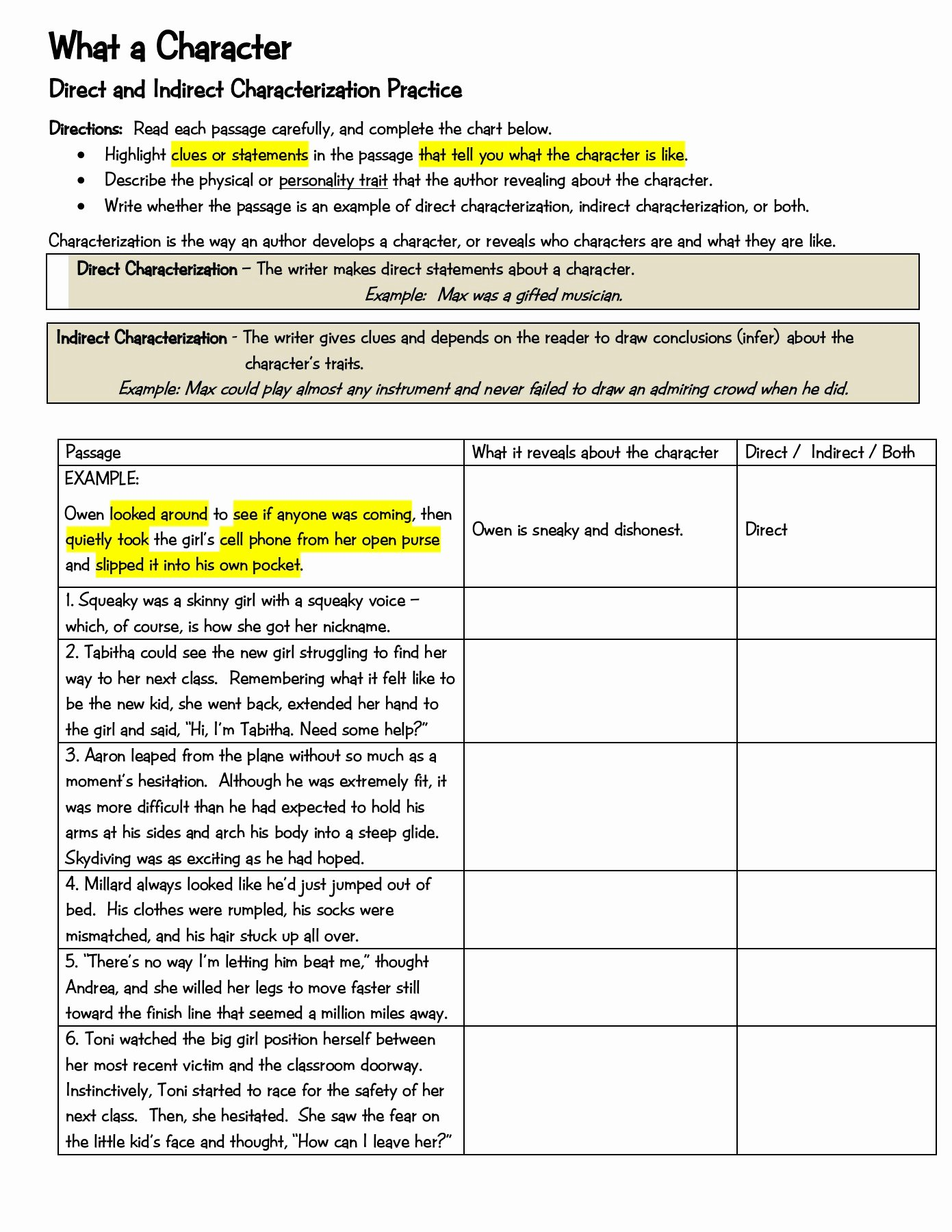 Direct and Indirect Characterization Worksheet New Characterization 1 Pages 1 2 Text Version