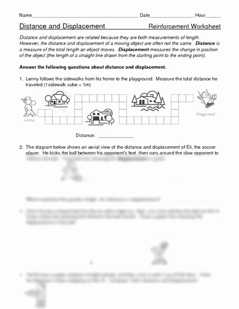 Distance and Displacement Worksheet Answers Free Physics Distance and Displacement Worksheet Answers