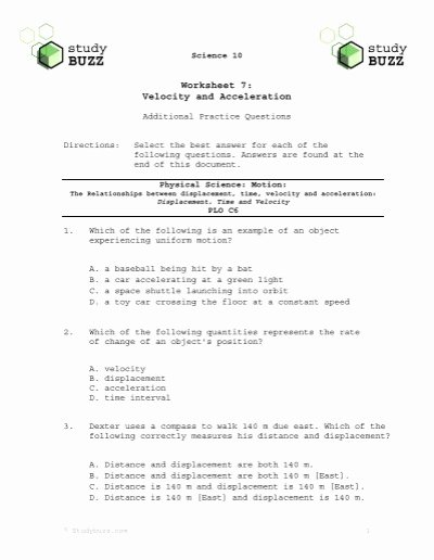Distance and Displacement Worksheet Answers Inspirational Velocity Worksheet 07