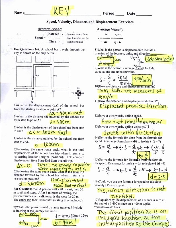 Distance and Displacement Worksheet Answers New Key Speed Velocity Distance and Displacement Exercises