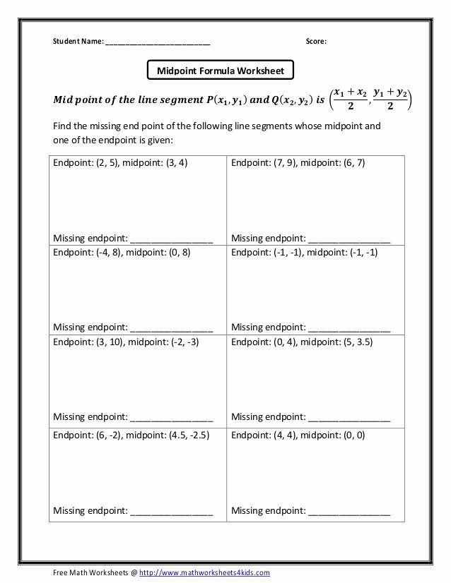 Distance and Midpoint formula Worksheet Lovely Midpoint formula Missing Endpoint