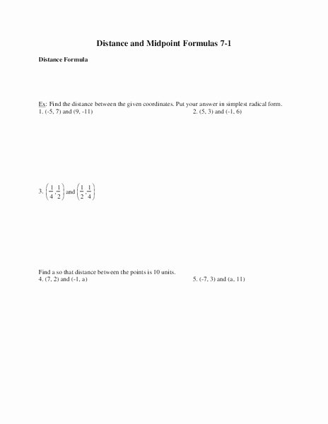 Distance and Midpoint formula Worksheet New Distance and Midpoint formulas Worksheet for 9th Grade