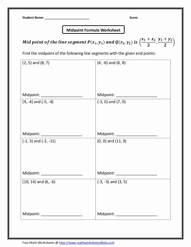 Distance and Midpoint formula Worksheet top Midpoint formula