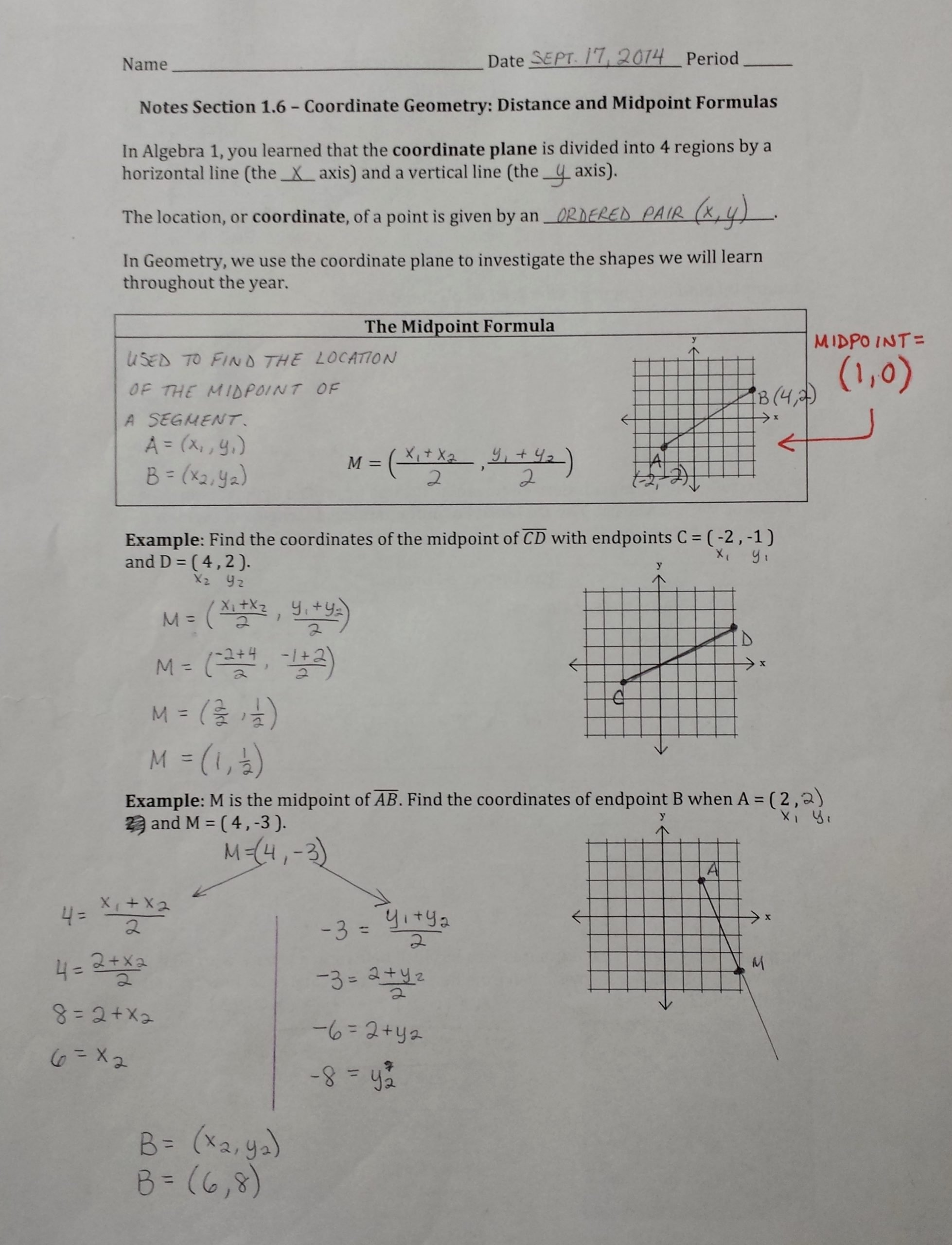 Distance and Midpoint Worksheet Answers New Midpoint Math Worksheets