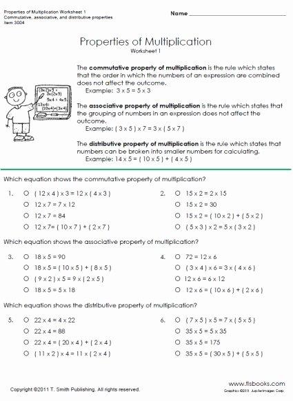 Distributive Property 3rd Grade Worksheets Fresh Properties Of Multiplication