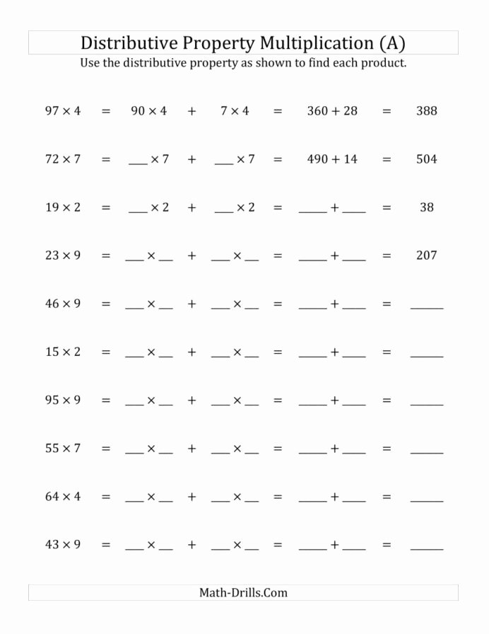 Distributive Property 6th Grade Worksheet Fresh Multiply Digit by Numbers Using the Distributive